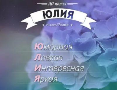 Как расшифровывается имя Юлия