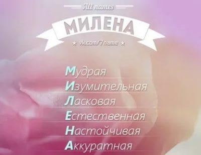 Что означает имя Милена в медицине
