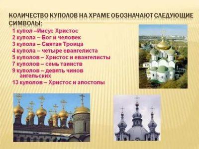 Что означает число куполов на храме